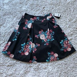 Dresses & Skirts - Black Floral Pleated Skater Skirt by - NWT